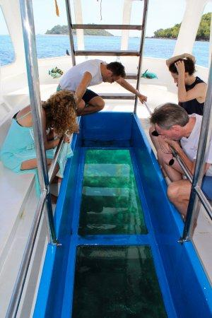 Glass Bottom Boat for Seychelles Honeymoon