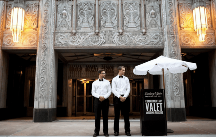 Valet parking at wedding venues
