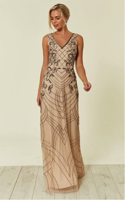 Mishan sequin bridesmaid maxi dress in nude