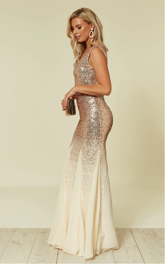 Sequin and chiffon engagement maxi dress in champagne